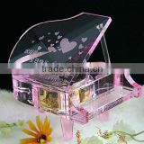Made in china mechanism crystal musical box with pink color (R-2066)