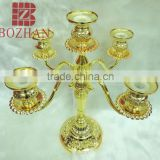 3 arms vintage wedding metal candle holders/ handicraft gold plate metal candle holder