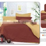 100% polyester reactive printed bedding set,plain color thick microfiber bed sheet set,yellow and brown