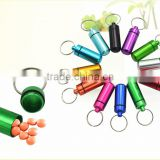 Hot Worldwide Keychain Pill Box WaterProof colorful Aluminum Drug Case Bottle Holder Container