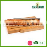 High quality bamboo bread cutting board with S/S knife