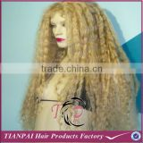 2015 hand tied blonde 613 kinky curl full lace front wig, cheap heat resistant full lace synthetic wig