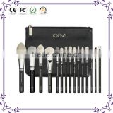 Beautiful 15 pcs make up brushes private label black wooden synthetic hair cosmetics makeup brushes set