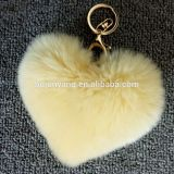 High quality heart shaped fur ball gift bag and car pendant key ring heart in rabbit