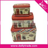 London Style Tin Box 3 pcs Tin Box Set for Wholesale, Tin Box Set for Hot Sales New Design