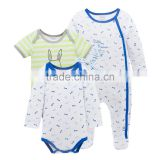Wholesale 2017 New Style Newborn Baby Clothes 3pcs Soft Cotton Baby Rompers For Summer+Winter