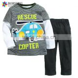 European Kids Fall Boutique Clothing fabric embroidery Cotton Sport Boys Suits for baby wear