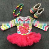 2016 rainbow chevron Easter dress bunny dress baby girls clothes fashion kids clothes with matching necklace and shoes set