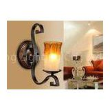 Hotel Corridor Art Deco Wall Lights With Candle Blown Glass Shade , Bathroom Wall Lamp