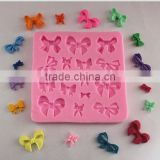 Pink bows shape Chocolate Candy 3D Silicone Fondant Mold Mould Cake Decoration baking soap tools kitchen accessories