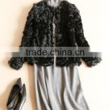 YR649 Genuine Curly Lamb O-Neck Long sleeve Fur Coat Euro Fashion Real Baby Sheep Lamb Fur Coat
