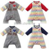 2016 autumn sweet heart colorful stripes long sleeve babysuits