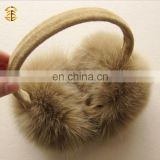 100% Real Fox Fur Winter Warm Muff Fur Ear Muff Warm