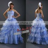 EB294 Ice blue and Ivory organza intersect A-line wedding dress evening gowns multi-layer tower shaped ceremony dress