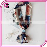 The spring and autumn all-match long scarf double satin scarf small Korean bow tie