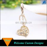 Promotional Gift Item 18K Gold Plated Rhinestone Inside With Heart Keychain
