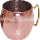Solid Brass Handle Hammered Copper Moscow Mule Barrel Mug, Copper Moscow Mule Hammered Mug With Solid Brass Handle