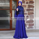 Arabic style Evening Dresses Royal Blue Muslim Long Sleeve Prom Gown With Scarf Chiffon Zipper 2016 Custom Made