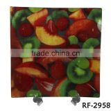 2016 Popular Oversized Fruit Dersigned Glass Plate with Sqaure Shape for Glass Soup Plate