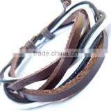BLACK & BROWN LEATHER WRISTBAND BRACELET BRAIDED WOVEN MULTI-LAYER MENS & LADIES
