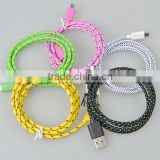 1m Round Braided Textile Electrical usb Cable/Wire/Pulley Cord 2 wires