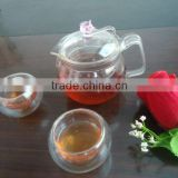 high quality hot sale New Style Heat resistant borosilicate glass tea pot set with pink handle and flower lid