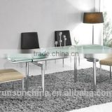 fashionable and simple/concertina table / Toughened glass table/glass top metal base dining table(ST-027)