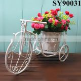Indoor and outdoor white bicycle design iron flower stand                                                                         Quality Choice