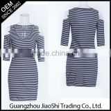 New arrival Casual T shirt style stripe off-shoulder O-neck tight bodycon dress for women