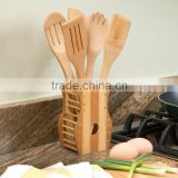 cute Set Of 6 Bamboo Cooking Utensil With Holder Baking bamboo Kitchen Tools