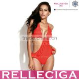 RELLECIGA 2016Cherry Collection-Red Orange Asymmetric Style Cut-out One-piece Swimsuit with Flirty Ruffle Trim