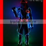 Wireless DMX512 fiber optic tron dance costume with hat, LED color change clothes for hip pop dance
