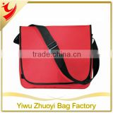 Promotional 600D polyester shoulder messenger bag with full front flap and hook and loop closing