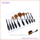 2016 New Professional 10 Pcs Soft Oval Toothbrush Makeup Brush Sets Foundation Brushes Contour Powder Blush Concealer Brush