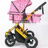 2015 glold frame baby stroller, 3 postion seat, 5 potins belt, big air wheels fit for travling 3 in 1