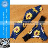 Domi Custom Sunflower Bandeau Top Set Sexy Mature Swimwear Women Bikini