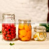 0.5L 0.7L Recycled airtight Round shape glass jar with metal clip top lid for kitchen and food