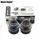 Music Flower 2pcs/lot Brown + Coffee + 2 Brushes Eyebrow Extension Kit Smudge-proof Waterproof Eye Liner Cream