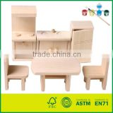 Wooden Dollhouse Miniatures Furniture