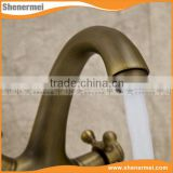 Website Selling Black Antique brass double handle basin tap