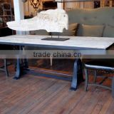 Industrial Rustic Wood Cast Iron Drafting Table Desk , French Architect Drafting dining Table ,