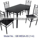 Classic Simple Black Colour Metal Dining Room Sets Furniture With Table And Chairs In 1+4 For Home