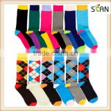 Factory Custom 6 Pairs Mens Fashion Dress Socks Multi Color Designer Print Argyle Pattern Lot