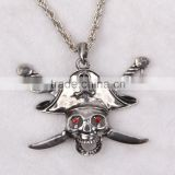 Cheap fashion imitation jewelry carnival chain halloween necklace antique imitation silver punk skull head pirate pendant