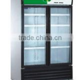 Commercial refrigerator double doors Air cooling display cooler drinks display fridge supermarket display refrigerator