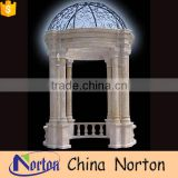 Monumental and beautiful round white marble gazebo with wrought iron dome NTGM-013Y