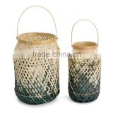 Natural & grey green basket weave design, set of two 100% bamboo lamp shades lighting