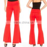Wholesale Price OEM Fashion Ladies Latex Pants Solid Red Loose Bell Bottom Trousers Palazzo Pants with Kurti