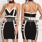 Sexy Black Two Tone Plunge Spaghetti Straps Bodycon Dress Girls Night Club Dress Photos Without Dresses HSD5930