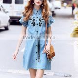 zm35716a latest designs elegant embroidery jeans long dress for lady